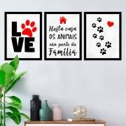 Kit 3 Quadros Decorativos love Pet