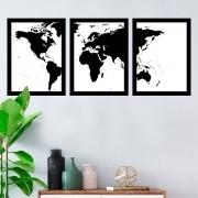 Kit 3 Quadros Decorativos Mapa Preto E Branco