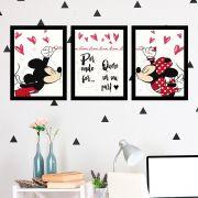 Kit 3 Quadros Decorativos Mickey e Minnie