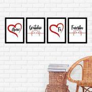 Kit 4 Quadros 27x36 Amor-Gratidão-Fé-Família