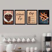 Kit 4 Quadros 27x36 Café para Acordar