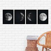 Kit 4 Quadros 27x36 Fases da Lua