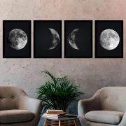 Kit 4 Quadros 33x43 Fases da Lua
