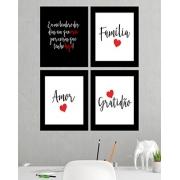 Kit 4 Quadros Decorativos Composê Família Amor Gratidão Vermelho