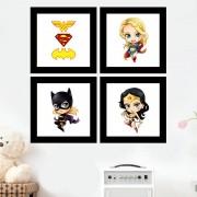 Kit 4 Quadros Decorativos Composê Heroinas Marvel Desenho
