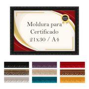 Moldura Quadro A4 para Certificado Madeira Laqueada Premium com Vidro-130
