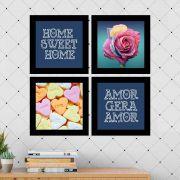 Kit 4 Quadros Decorativos Composê Amor Gera Amor
