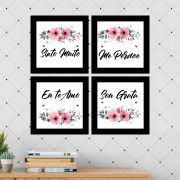 Kit 4 Quadros Decorativos Composê Ho'oponopono Flores