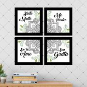 Kit 4 Quadros Decorativos Composê Ho'oponopono Mandala