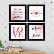 Kit 4 Quadros Decorativos Composê Amor Por Favor