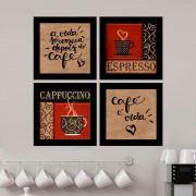 Kit 4 Quadros Decorativos Composê A Vida Começa Depois Do Café