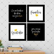 Kit 4 Quadros Decorativos Composê Família Gratidão Amarelo