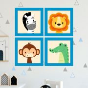 Kit 4 Quadros Decorativos Composê Infantil Safari