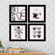 Kit 4 Quadros Decorativos Composê Love Geométrico