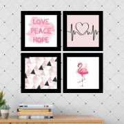 Kit 4 Quadros Decorativos Composê Love Peace Hope