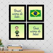 Kit 4 Quadros Decorativos Composê Presidente Bolsonaro