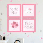 Kit 4 Quadros Decorativos Composê Sonhe Alto Minha Menina