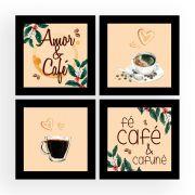 Quadro Composê 40x40cm Amor & Café