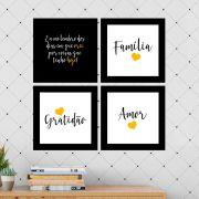 Kit 4 Quadros Decorativos Composê Família/Amor/Gratidão - Amarelo