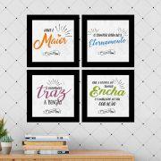Kit 4 Quadros Decorativos Composê Frases Religiosas