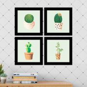 Kit 4 Quadros Decorativos Composê Tipos De Cactos