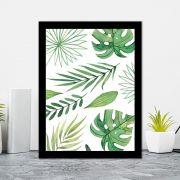 Quadro Decorativo 27x36 Aquarela Folhas Tropicais