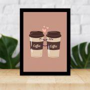 Quadro Decorativo 27x36 Casal de Copos de Café