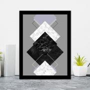 Quadro Decorativo 27x36 Conjunto de Quadrados Geométrico
