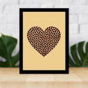 Quadro Decorativo 27x36 Coração em Grãos de Café