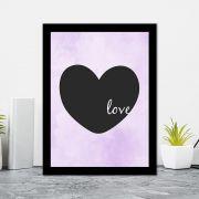 Quadro Decorativo 27x36 Coração Escrito Love