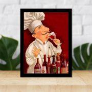 Quadro Decorativo 27x36 Cozinheiro Degustando Vinho