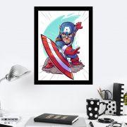 Quadro Decorativo 27X36 Desenho Infantil Capitão América