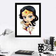 Quadro Decorativo 27X36 Desenho Infantil Mulher Maravilha