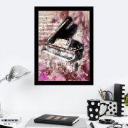 Quadro Decorativo 27x36 Desenho Piano Vintage