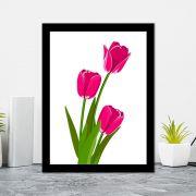 Quadro Decorativo 27x36 Desenho Tulipa Rosa