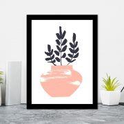 Quadro Decorativo 27x36 Desenho Vaso de Folhas -4
