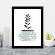 Quadro Decorativo 27x36 Desenho Vaso de Folhas -5