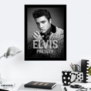Quadro Decorativo 27x36 Elvis Presley Preto e Branco