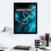 Quadro Decorativo 27x36 Espada MineCraft