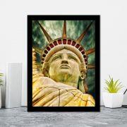 Quadro Decorativo 27x36  Estátua da Liberdade Vintage