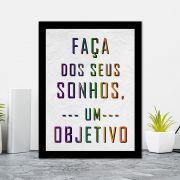 Quadro Decorativo 27x36 Faça dos Seus Sonhos um Objetivo