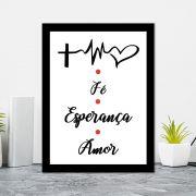 Quadro Decorativo 27x36 Fé Esperança e Amor - Vermelho