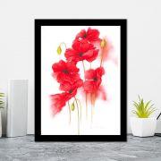 Quadro Decorativo 27x36 Flores de Pintura Vermelha