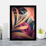 Quadro Decorativo 27x36 Folhagem Digital Colorida