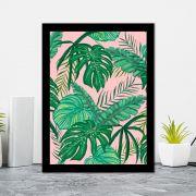Quadro Decorativo 27x36 Folhagens Tropicais Fundo Rosa