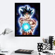 Quadro Decorativo 27x36 Goku Bola Azul