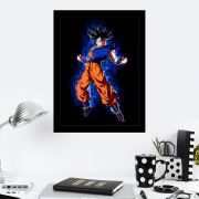 Quadro Decorativo 27x36 Goku Fogo Azul