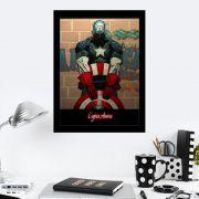 Quadro Decorativo 27X36 Grafite Capitão América