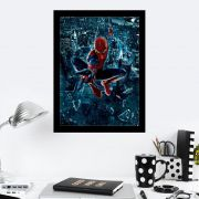 Quadro Decorativo 27X36 Homem Aranha Quebrando o Vidro