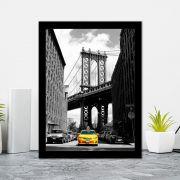 Quadro Decorativo 27x36 Homemhattan Bridge New York Preto e Branco